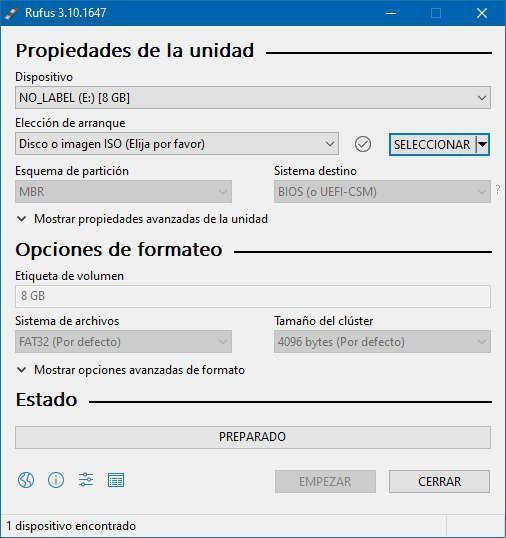 Propiedades del USB conectado en el ordenador en la pantalla principal de Rufus