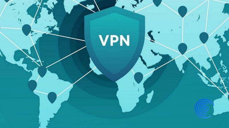 Dibujo de un escudo VPN sobre el mapa de Europa