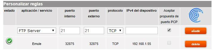 Imagen que muestra una nueva regla utilizando el puerto externo en Livebox de Jazztel