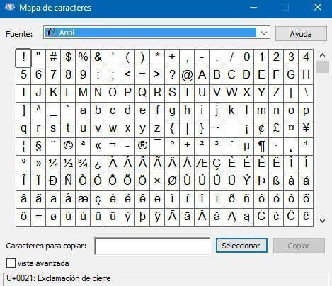 Mapa de Caracteres de Windows 10 para poner arroba