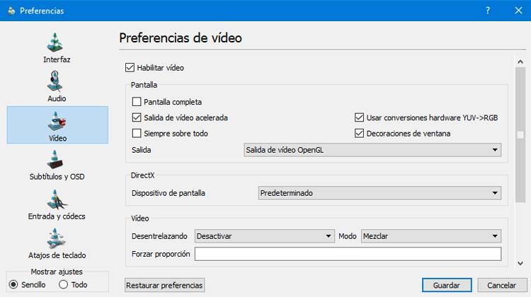 Preferencias de Video en Ace Player de Arenavisión