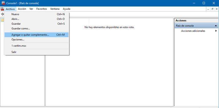 Haz clic enAgregar o Quitar Complemento en la MMC de Windows
