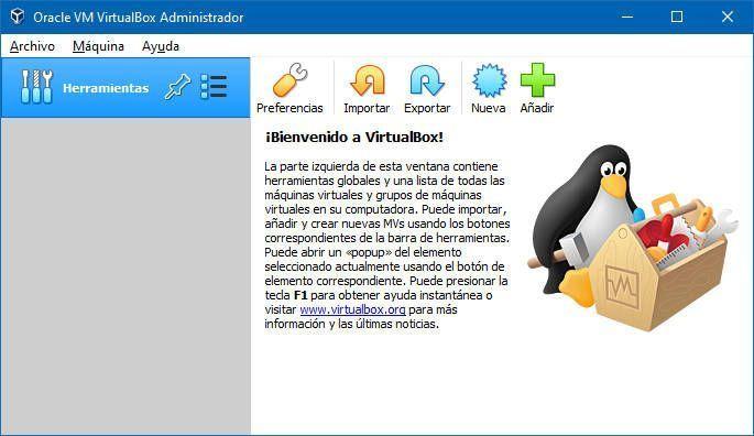 Pantalla de bienvenida a VirtualBox en Windows