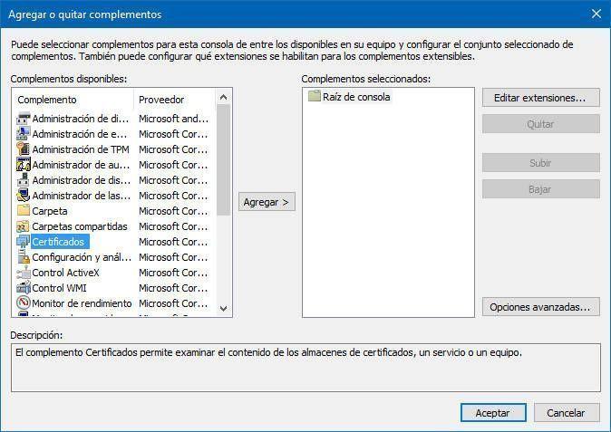 Marca la opción de certificados y haz clic en Agregar