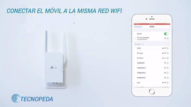 Imagen de un móvil conectándose a la red wifi del tp link extender
