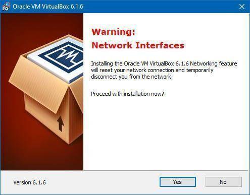 Virtualbox reinicará tu conexión a la red durante la instalación de la máquina virtual en Windows 10