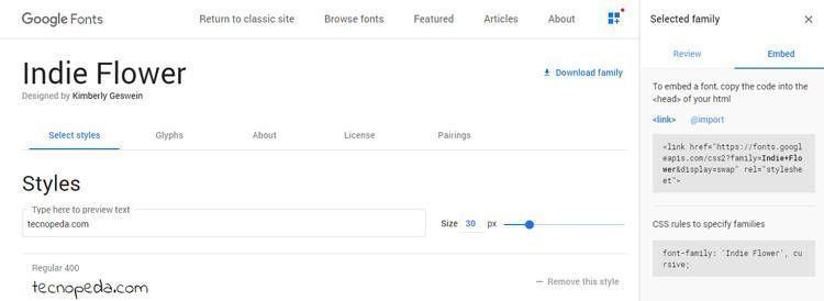 Utilizar google fonts en una página web