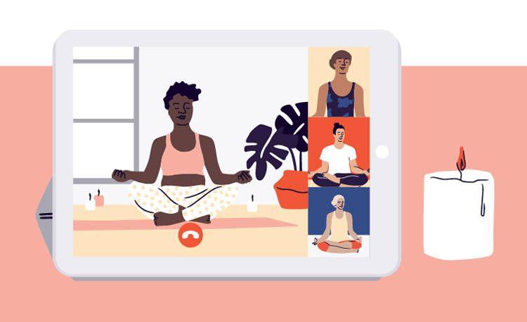Dibuje de una tablet donde una mujer hace un evento online sobre yoga