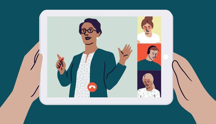 Dibujo de unas manos sujetando una tablet para acceder a un evento online