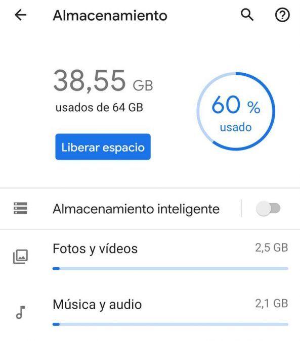 Porcentaje de almacenamiento de un móvil Android ante de borrar la caché