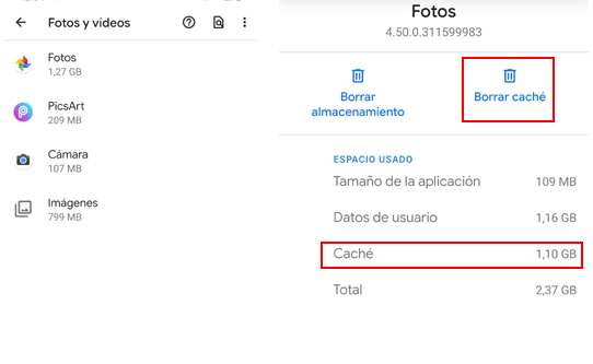 Borrar la caché móvil de distintas aplicaciones y servicios de Android