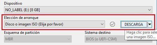 Puedes utilizar la opción de descargar ISO de Rufus para crear tu USB
