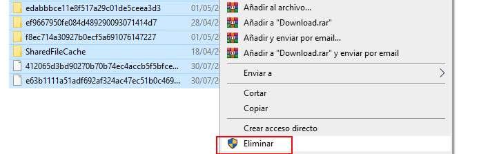 Seleccionar todos los archivos para eliminarlos y lipiar toda la caché en windows 10