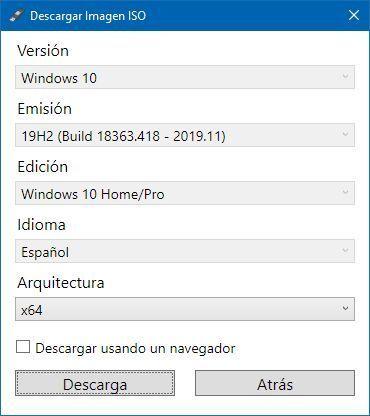 Seleccionar las características de la ISO de Windows 10 para descargar en Rufus