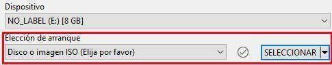 Utiliza la opción de seleccionar para utilizar una ISO descargada en tu equipo