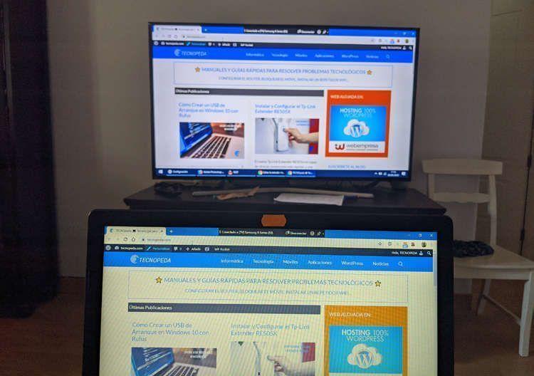 Smart tv Samsung conectada a windows 10 sin cables utilizando wifi utilizando un método para conectar un pc a una tv