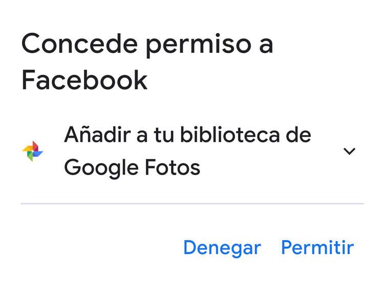 Conceder permisos de acceso a Facebook a tu cuenta de Google