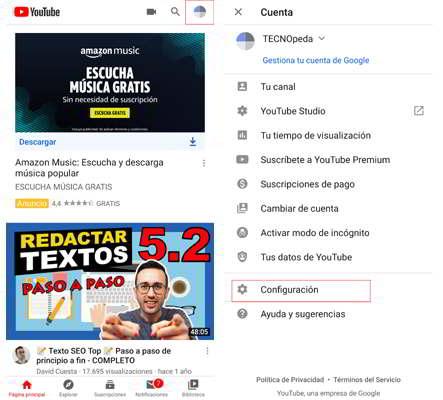 Configuración de tu cuenta para detener la reproducción de vídeos en Youtube