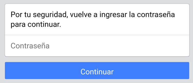Ventana para introducir la contraseña de facebook