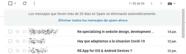 Eliminar todo el correo no deseado de Gmail