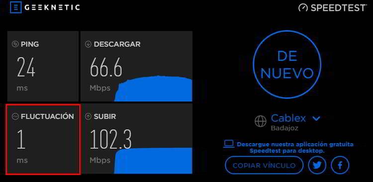 Fluctación de la conexión a internet tras hacer un test de velocidad