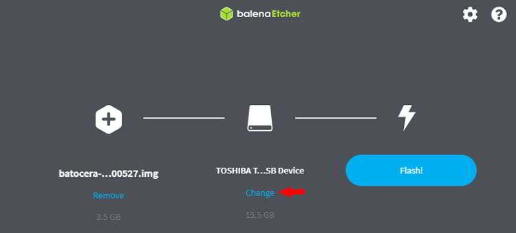 Selecciona el soporte USB donde vas a instalar Batocera.Linux
