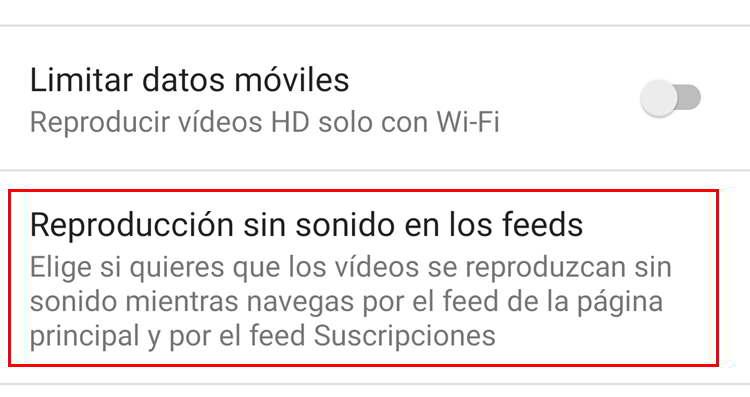 reproducción sin sonido en feeds