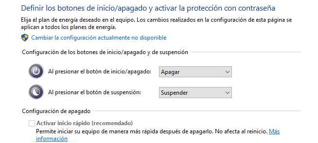Cambiar la configuración del botón de inicio/apagado en Windows 10 al instalar un disco duro SSD