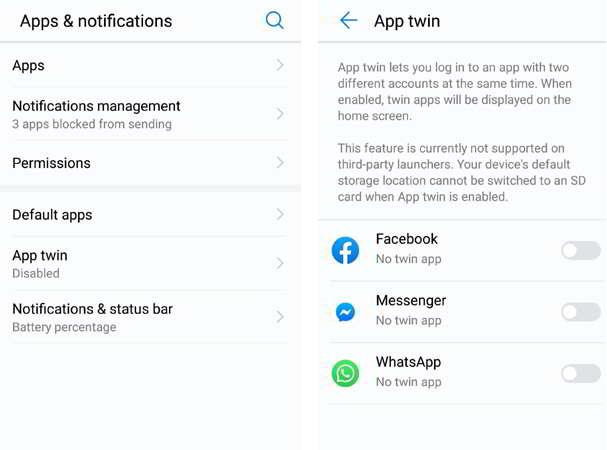 Clonar apps de mensajería en Honor y Huawei