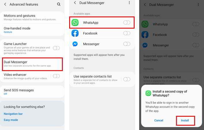 Utilizar dos números de whatsapp en un móvil samsung