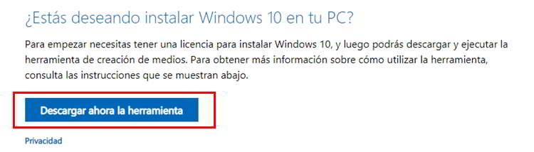 Herramienta de Microsoft para descargar Windows 10 Gratis