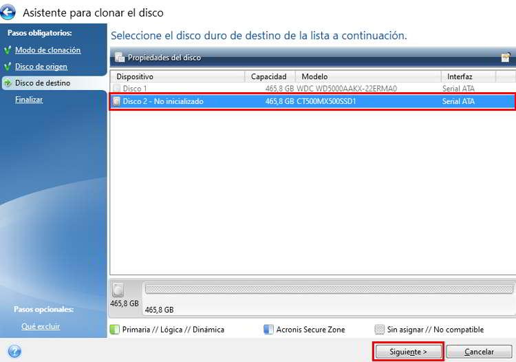 Seleccionar el disco de destino donde se clonará el HDD