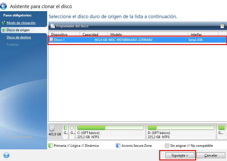 Seleccionar el disco de origen para la clonación de un disco duro SSD