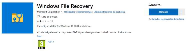 Recuperar archivos borrados en Windows 10 con Windows File Recovery