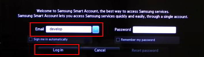 Iniciar sesión como develop en Samsung Smart tv