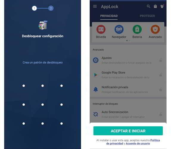 Patrón de desbloqueo para acceder a la configuración de Applock