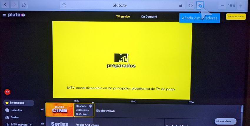 Añadir Pluto Tv a favoritos
