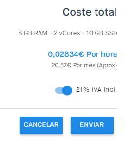 Coste total por meses del servidor VPS