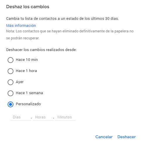 Deshacer cambios para recuperar los contactos borrados en Google