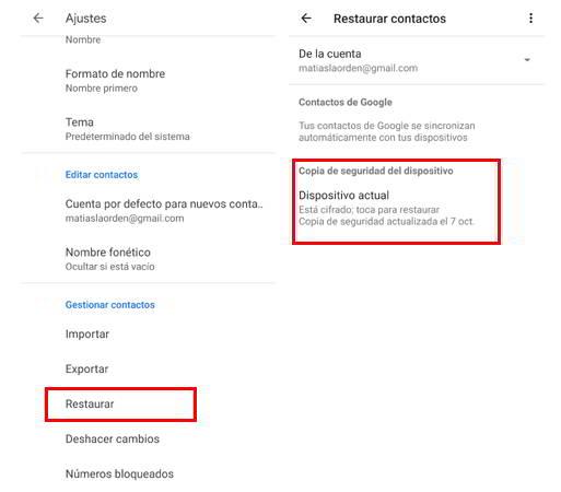 Restaurar contactos desde Google