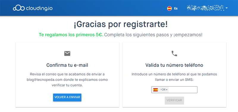 Completar Registro en Clouding para crear un servidor VPS