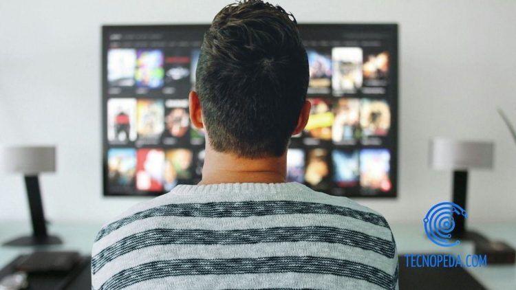 hombre de espalada viendo la televisión