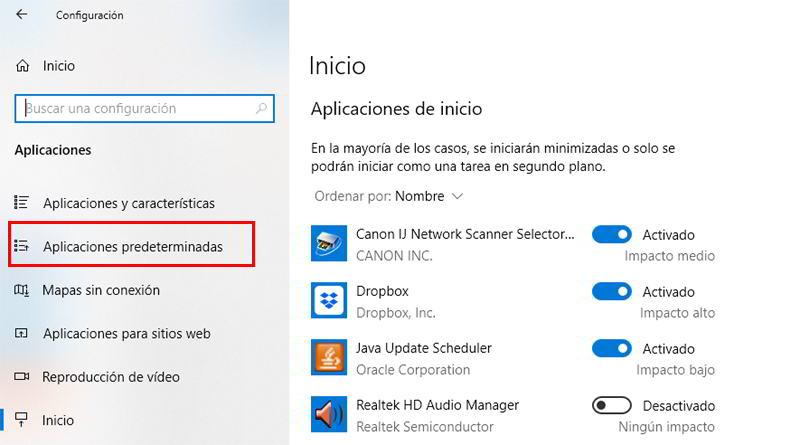 Configuración de aplicaciones en Windows 10