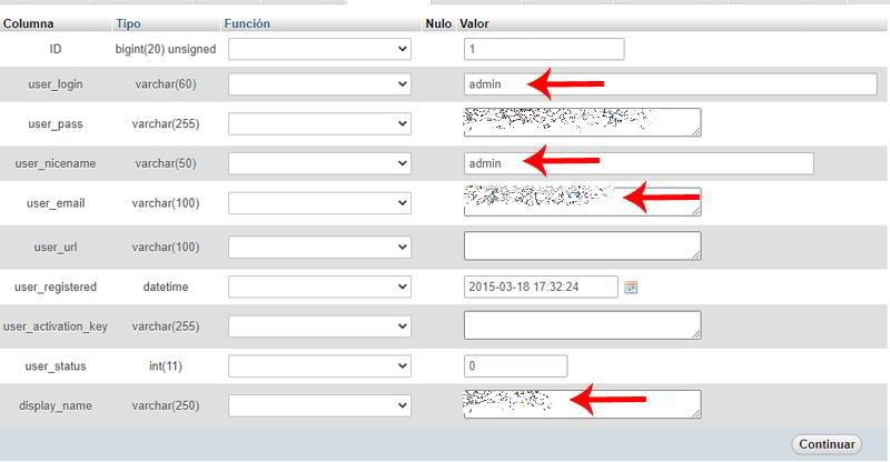 Editar Datos de tabla en base de datos