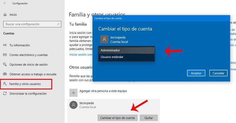 Ajustes de Familia y otros usuarios en Windows 10