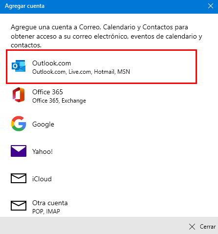 Seleccionar del desplegable el tipo de cuenta para añadir a Windows 10