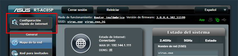 Confiugración Rápida de Internet en router ASUS