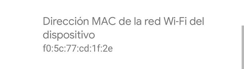 dirección MAC en android