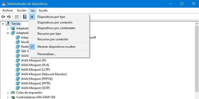 listado de los adaptadores de red en Windows 10