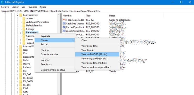 Añadir nuevo registro para aumentar la velocidad de internet en windows 10
